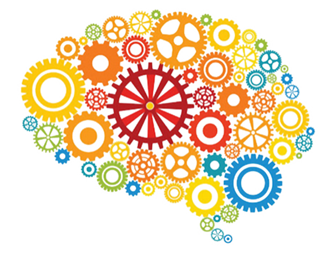 Colored Gears in the Shape of a Brain